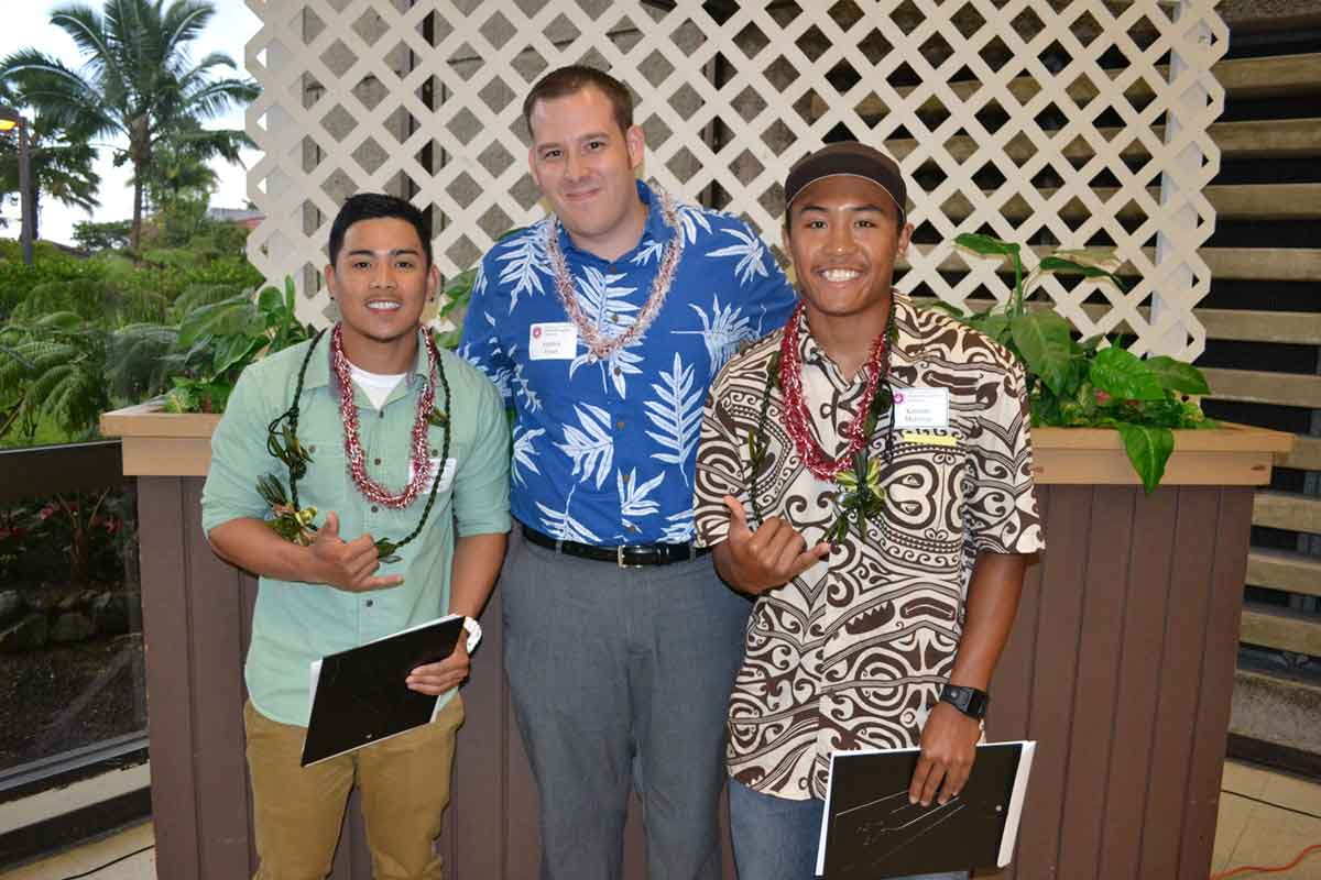 "Tumaneng and Martinez, the recipients of ""Building Future Builders"" Scholarships"